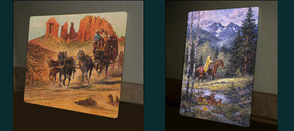 "Art Ceramic Tile ""Whirling He Raced to Meet the Challenge"" by Western artist Frank McCarthy"