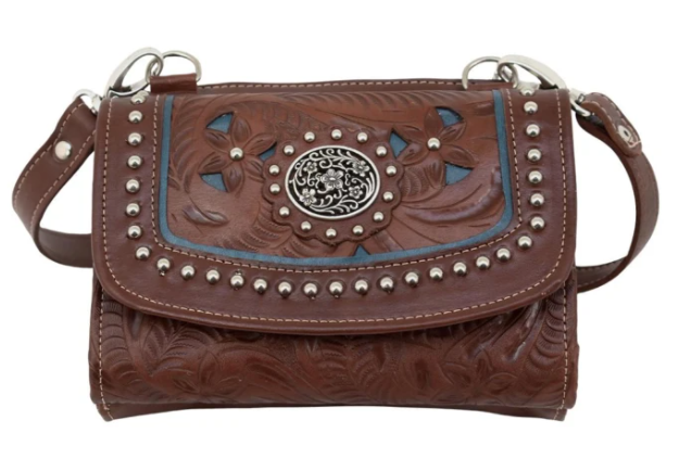 American West Lady Lace Collection Crossbody Wallet Antique Brown Front