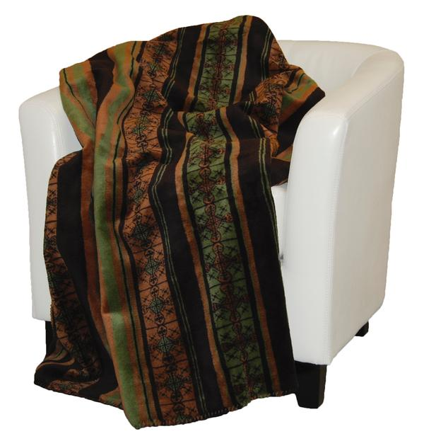 Denali Blankets Dark Chocolate Stripe Throw Blanket on Chair