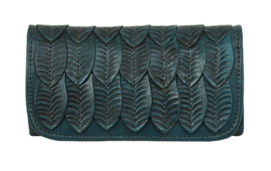 American West Freedom Feather Wallet Dark Turquoise Front