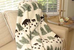 Denali Blankets Denali Bear Pearl Throw Blanket Front on Chair