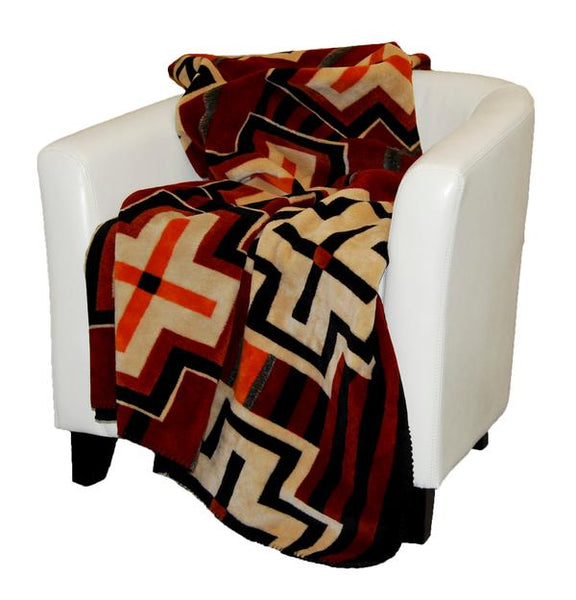 Denali Blankets Bounty Red Southwest Cross Design Double Sided Throw Blanket