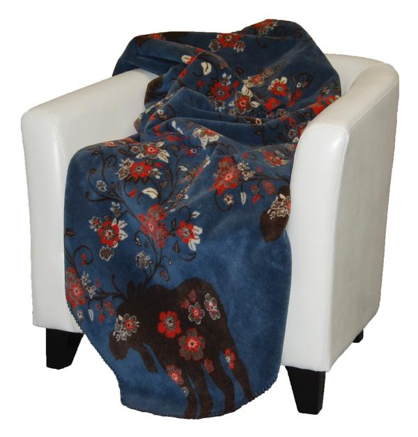 Denali Blankets Moose Blossom Blue on Chair
