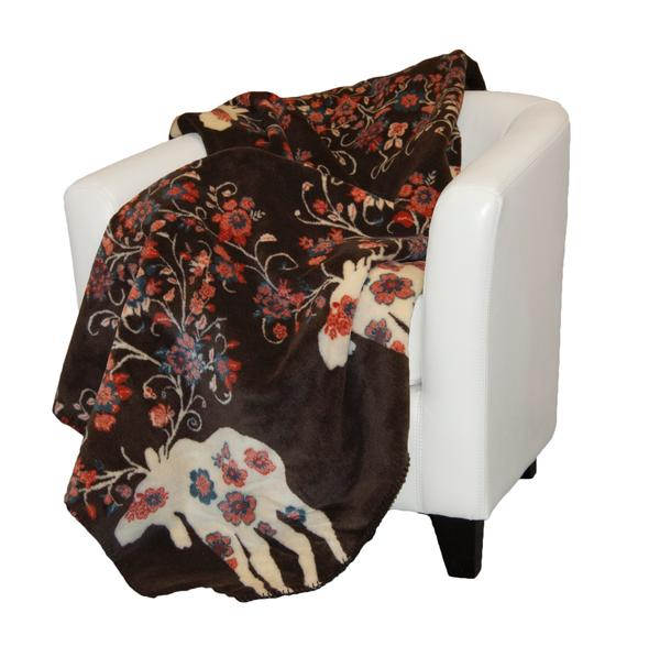 Denali Blankets Moose Blossom Taupe on Chair