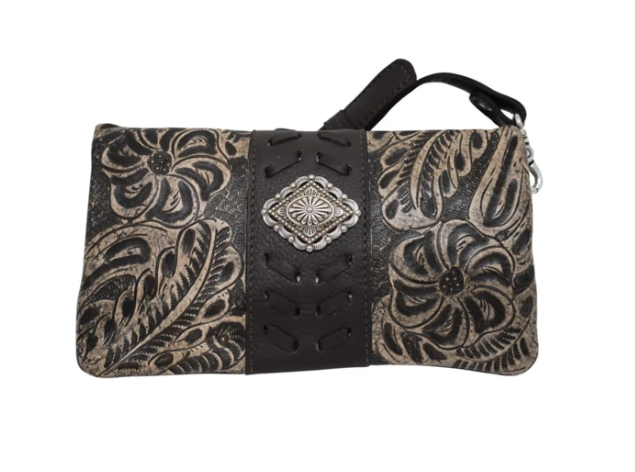 American West Grab and Go Foldover Crossbody Distressed Charcoal