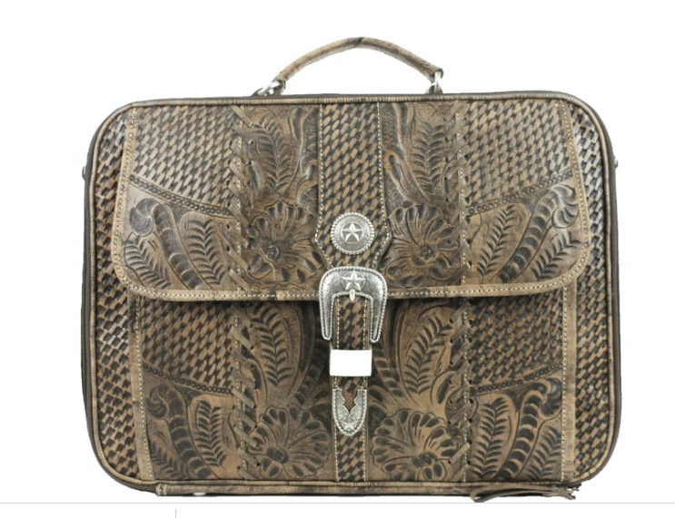 American West Handbag, Travel Retro Romance Briefcase Side View