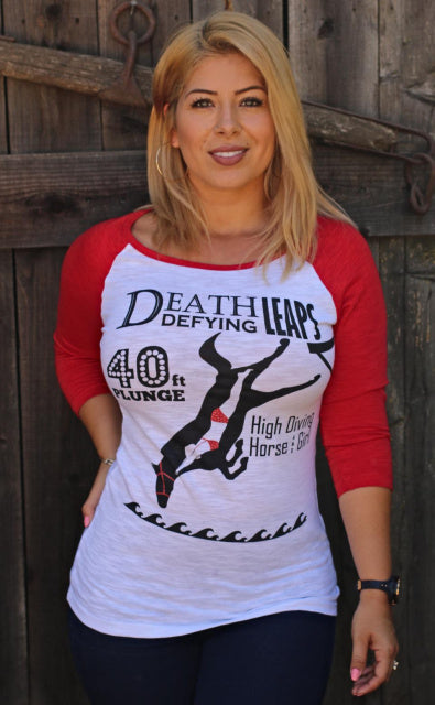 Original Cowgirl Clothing Baseball T-Shirt High Diving Horse and Girl Raglan Sleeve Red