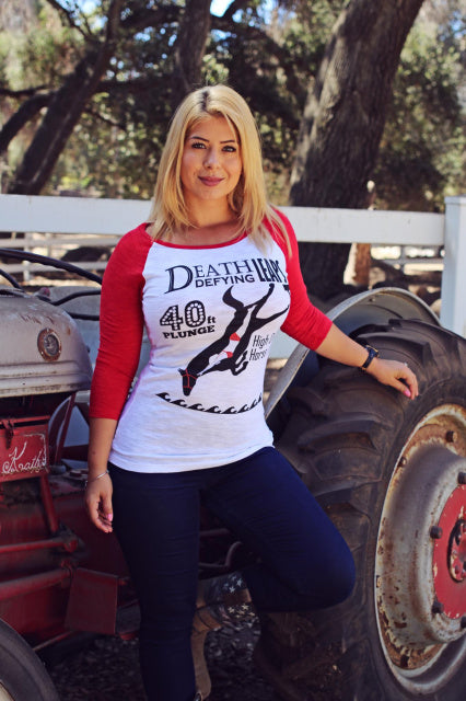 Original Cowgirl Clothing Baseball T-Shirt High Diving Horse and Girl Red Sleeves