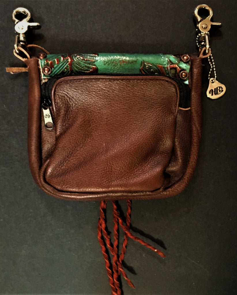 Hip Bag Double Compartment Copper Foil Turquoise Leather Back
