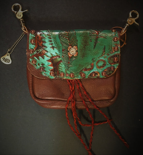 Hip Bag Double Compartment Copper Foil Turquoise Leather Front
