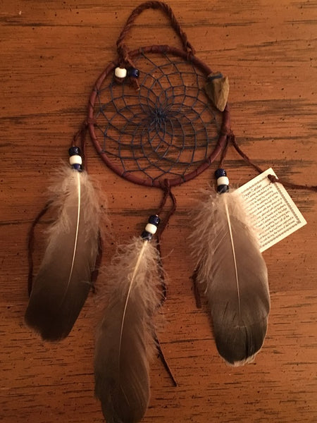 "Authentic Navajo Dream Catcher 4"" Natural Accent Navy Web Brown Wrap"