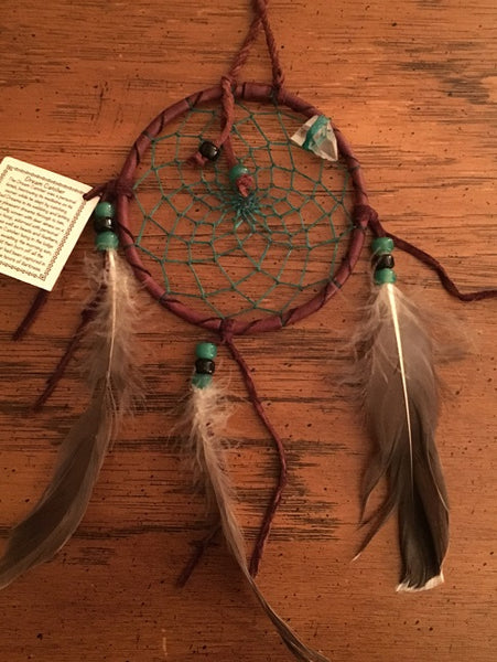 "Authentic Navajo Dream Catcher 4"" Natural Accent Green Web Brown Wrap"