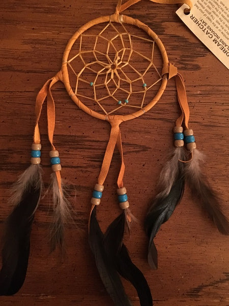"Authentic Navajo Dream Catcher 4"" Tan Wrap"