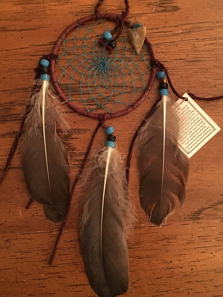 "Authentic Navajo Dream Catcher 4"" Natural Accent Turquoise Web Natural Accent"