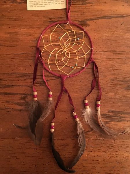 "Authentic Navajo Dream Catcher 4"" Bugundy Wrap"
