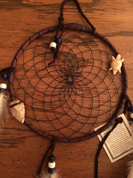 "Authentic Navajo Dream Catcher 6"" Brown Wrap Black Web Turtle Totem Arrowhead"