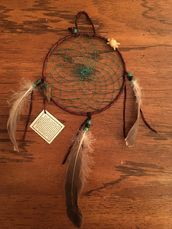 "Authentic Navajo Dream Catcher 6"" Brown Wrap Green Web Turtle Totem Arrowhead"
