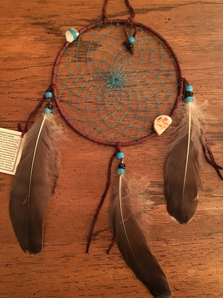 "Authentic Navajo Dream Catcher 6"" Brown Wrap Turquoise Web"