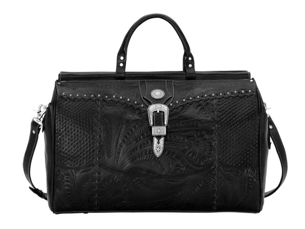 American West Travel Retro Duffle Bag Distressed Charcoal