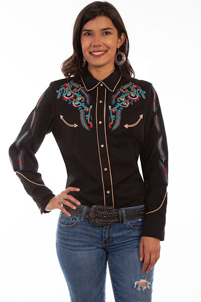 Scully Ladies' PL-878 Vintage Western Embroidered Shirt Black