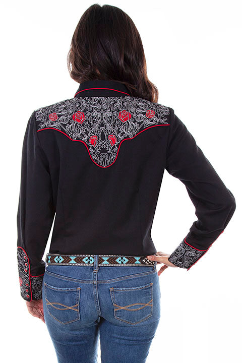 Scully Ladies' PL-881 Western Vintage Shirt Embroidered Roses Black Back