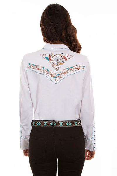 Scully Ladies' PL-877 Vintage Western Shirt Dream Weaver White