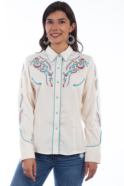 Scully Ladies' PL-878 Vintage Western Shirt Feather & Floral Cream