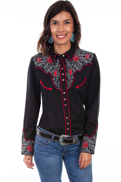 Scully Ladies' PL-881 Western Vintage Shirt Embroidered Roses Black Front