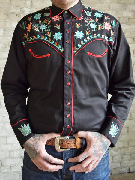 Rockmount Ranch Wear Men's Agave Cactus Foral Embroidery Black Front