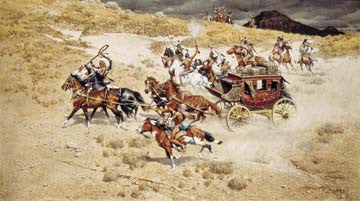 "Art Ceramic Tile ""End of the Line"" by Western artist Frank McCarthy"