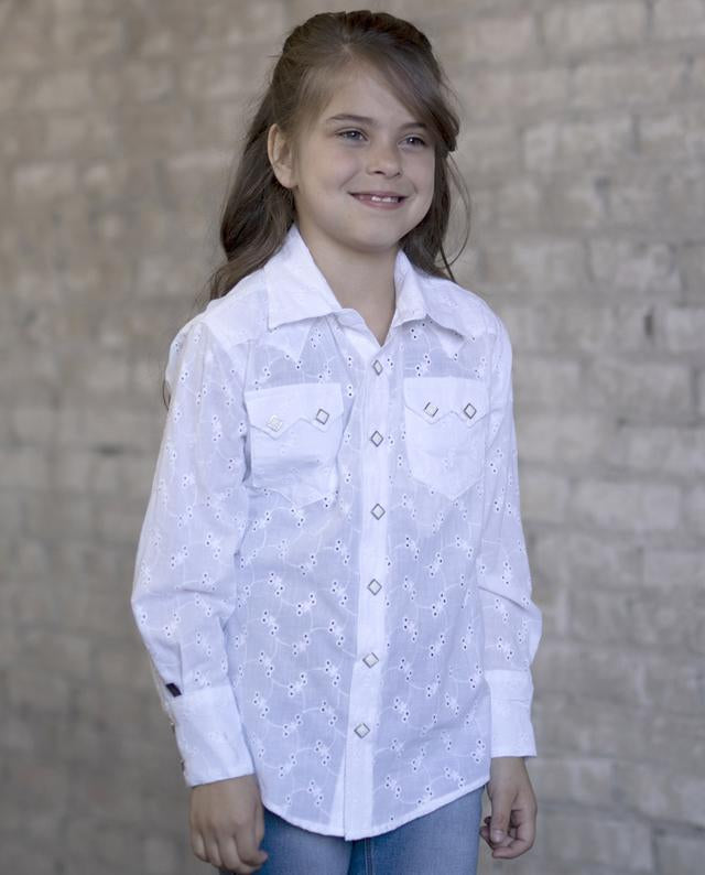 Rockmount Ranch Wear Childrens Western Shirt White Eyelet Model Front