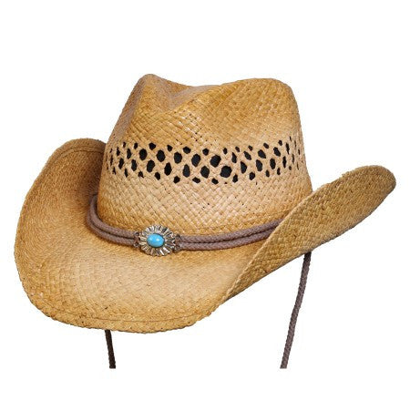 Conner Handmade Hats Big Sky Raffia with Turquoise Concho