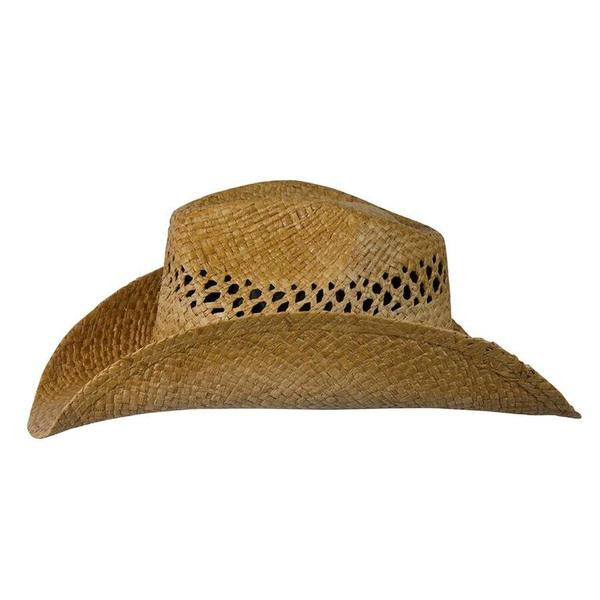 Conner Handmade Hats Raffia Western Style with Gemstone Hatband Side View
