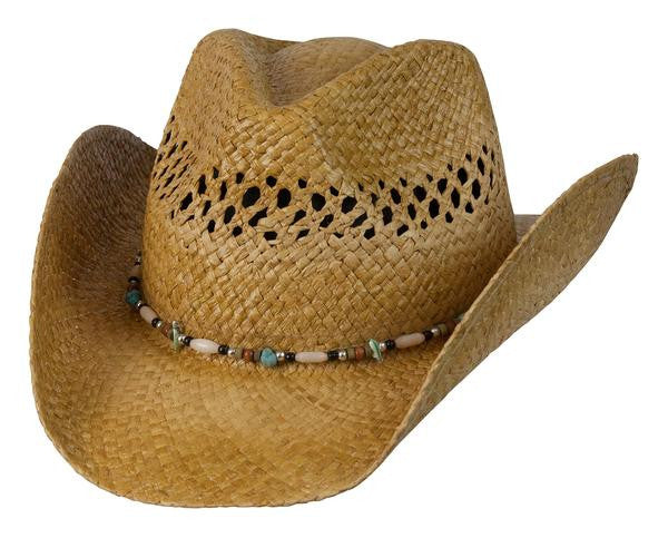Conner Handmade Hats Raffia Western Style with Gemstone Hatband Front View