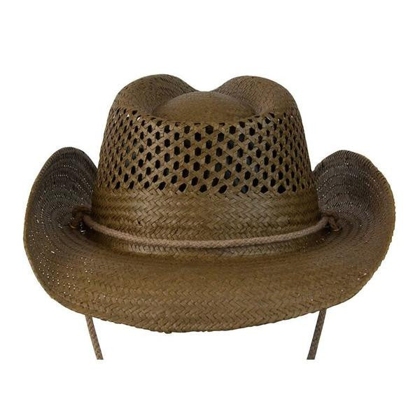 "Conner Handmade Hats Toyo ""Air Conditioned"" Western Shape Brown Back"