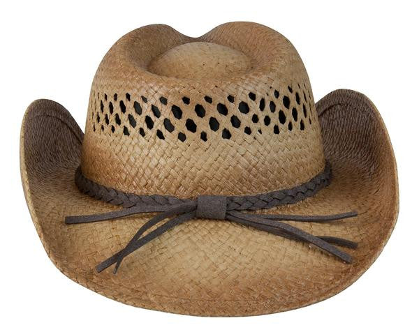 "Conner Handmade Hats Raffia Western Style ""Tex"" Back View"