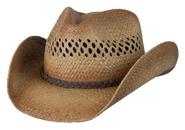 "Conner Handmade Hats Raffia Western Style ""Tex"" Front View"