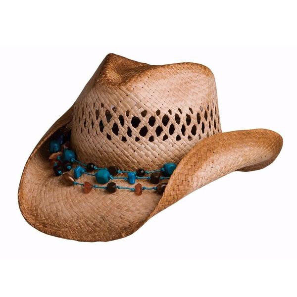 "Conner Handmade Hats Raffia ""Heather Cowgirl"" with Removeable Necklace Hatband, Front View"