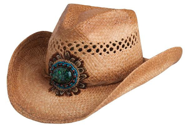 Conner Handmade Hats Western Raffia Beads, Concho, Feather