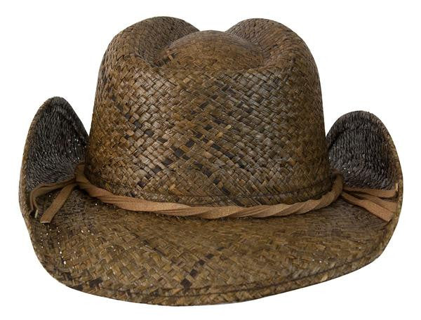 "Conner Handmade Hats Raffia ""Country Western"" Dark Brown Back View"