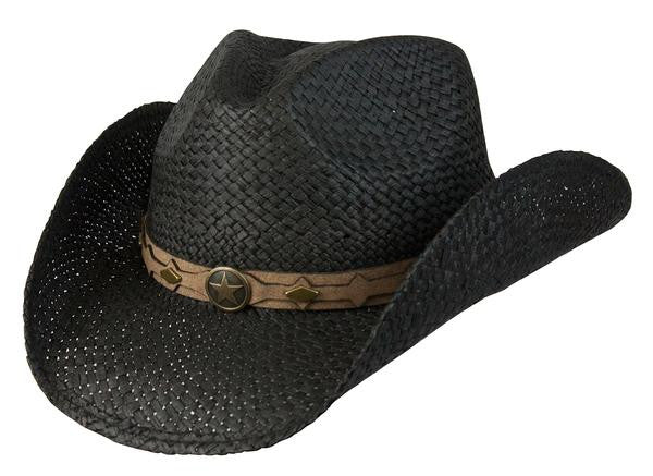 "Conner Handmade Hats Raffia ""Country Western"" Black Front View"