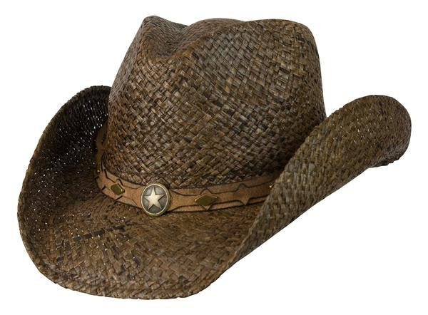 "Conner Handmade Hats Raffia ""Country Western"" Dark Brown Front View"