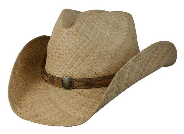 "Conner Handmade Hats Raffia ""Country Western"" Natural Front View"