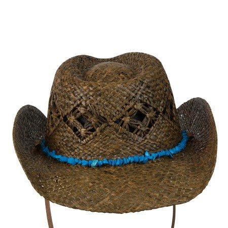 "Conner Handmade Hats Raffia ""Cascade Mountain"" Dark Brown Back View"