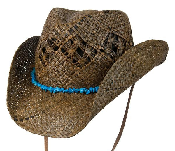 "Conner Handmade Hats Raffia ""Cascade Mountain"" Dark Brown Front View"