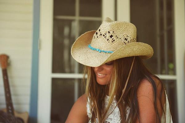 "Conner Handmade Hats Raffia ""Cascade Mountain"" Natural Model"