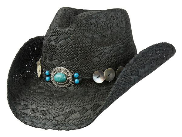 "Conner Handmade Hats Raffia Western Style ""Phoenix"" Black with Decorative Hatband Front View"