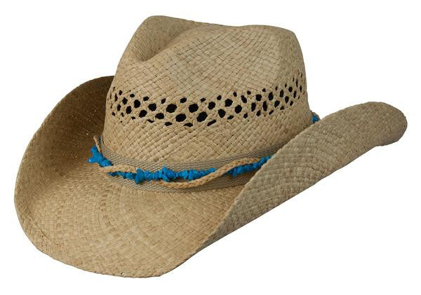 "Conner Handmade Hats Western Raffia ""Stones and Straw"" with Turquoise Hat Band, Caramel"