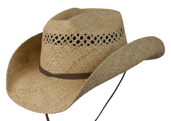 "Conner Handmade Hats Raffia Western Style ""Jasper"" with Leather Trim Front View"