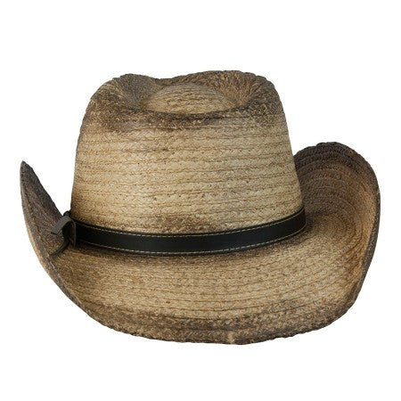 "Conner Handmade Hats Raffia ""Signal"" Western with Brass Conchos on Hat Band Rear View"